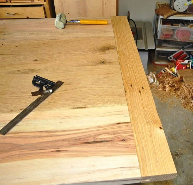 A straight-grained, even colored piece of white oak for the breadboards on this rustic table-top because the breadboards are an F&C feature on this piece.