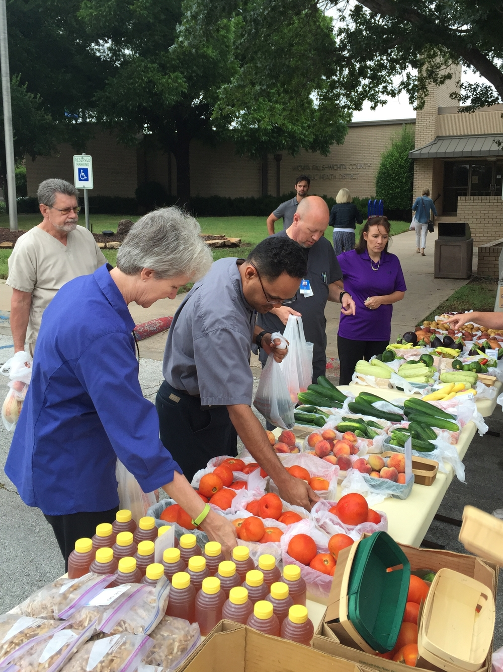 By adding an additional farmers' market at the local health department, Wichita Falls-Wichita County Public Health District increased WIC voucher redemption rates by 25% in 2015.  They distributed 700 booklets worth $30 and facilitated an additional $16,800 worth of fruits and vegetables in benefits for WIC clients over 1-year-old.  Location: Wichita Falls, Texas