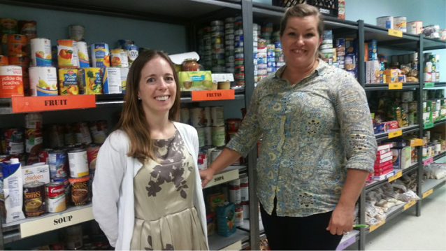 At local food pantry, Loudoun Hunger Relief: Jennifer with Erika Huddleston, Associate Director
