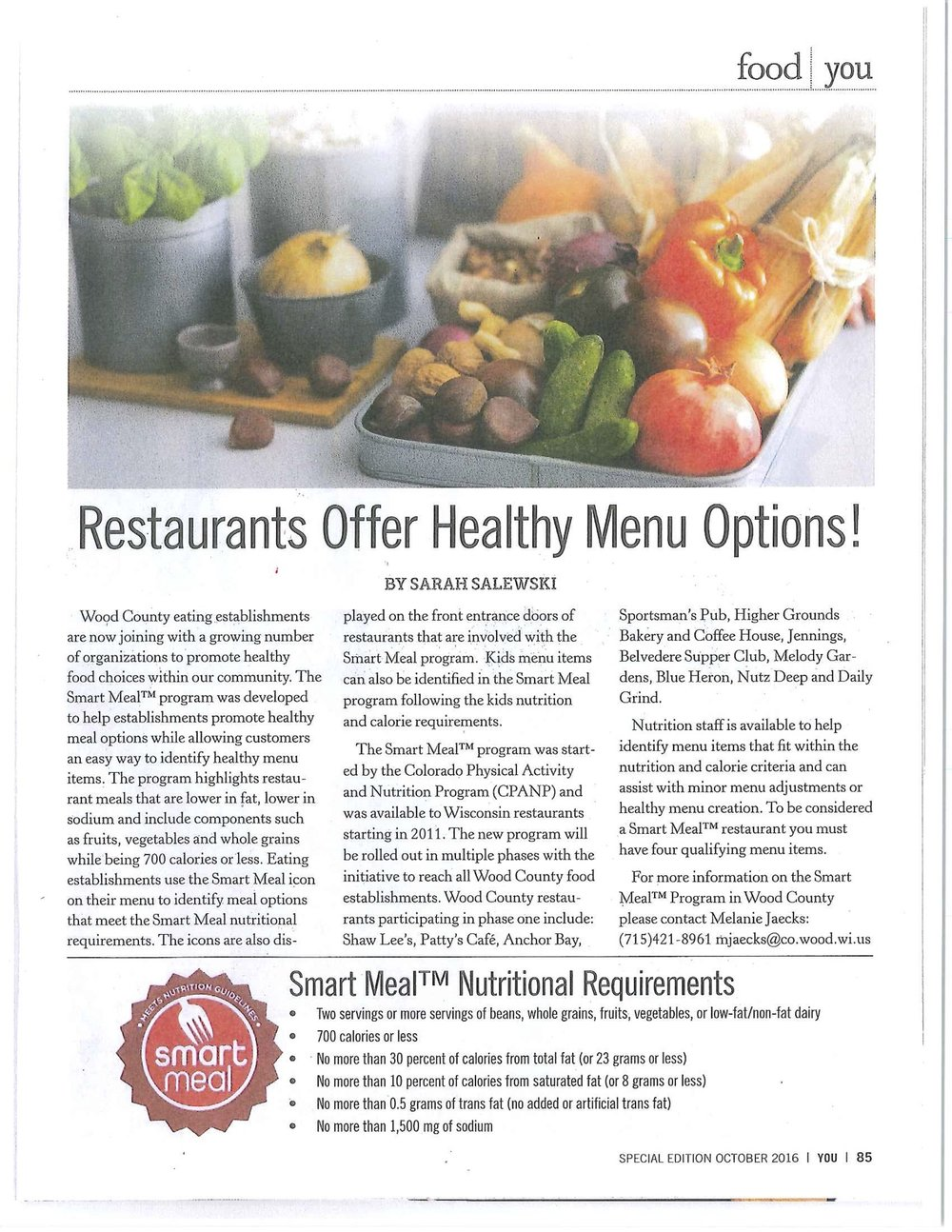 """Restaurant Offer Healthy Menu Options"" By Sarah Salewski YOU Magazine, Special Edition October 2016"