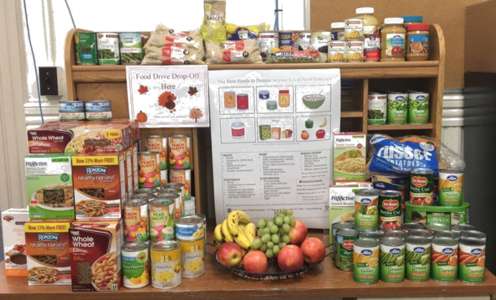 Healthy donation items include: whole wheat pasta, canned fruits in 100% juice, low sodium canned vegetables, peanut butter and canned tuna in water.
