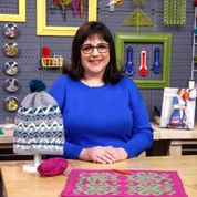 Karen Whooley looks right at home in the Craftsy studios