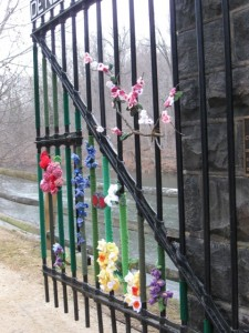 Right-hand gate with peach blossoms