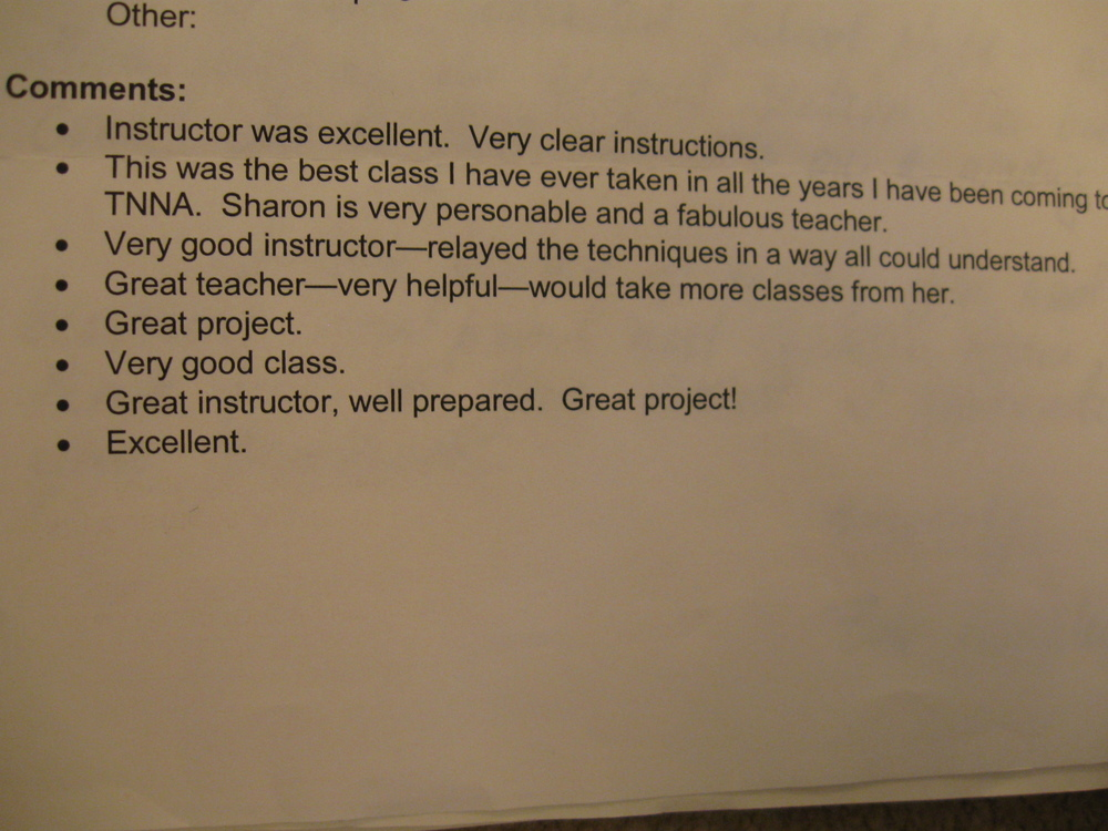 With comments like these, no wonder I haven't been asked to teach again!