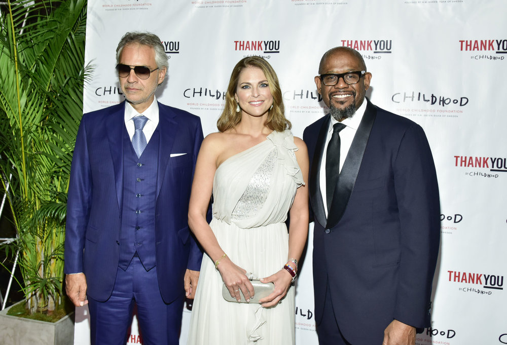 Maestro Andrea Bocelli, HRH Princess Madeleine, Actor Forest Whitaker              Photo by Eugene Gologursky/Getty Images