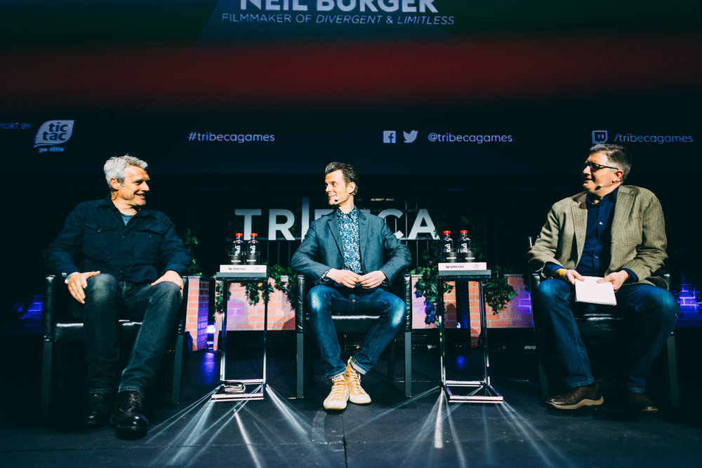 L-R: Film director Neil Burger (Limitless), game developer Sam Lake (Max Payne, Alan Wake and Quantum Break) and journalist Chris Suellentrop (Glixel) discuss approaches to storytelling in videogames during their keynote conversation at the inaugural Tribeca Games Festival. Photo credit: @jive for @streetdreamsmag