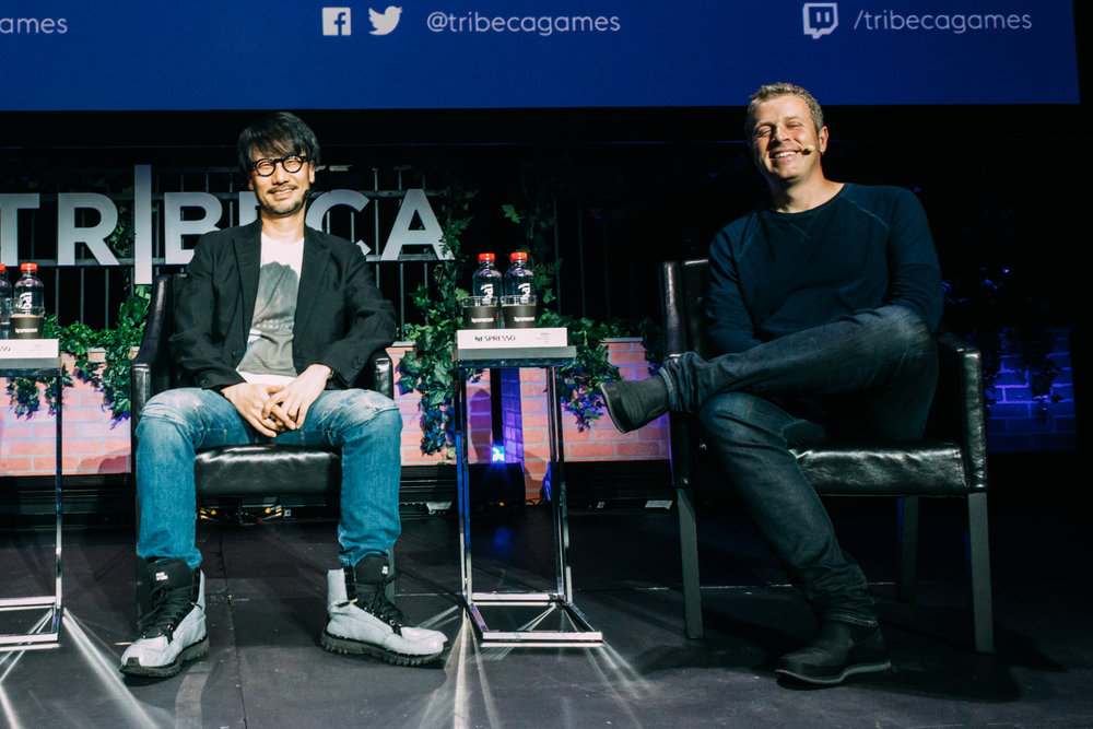 L-R: Legendary videogame developer Hideo Kojima (Metal Gear) and games industry mainstay Geoff Keighley discuss Kojima's influences of cinema on his work and what's next for him during their keynote conversation at the inaugural Tribeca Games Festival. Photo credit: @jive for @streetdreamsmag