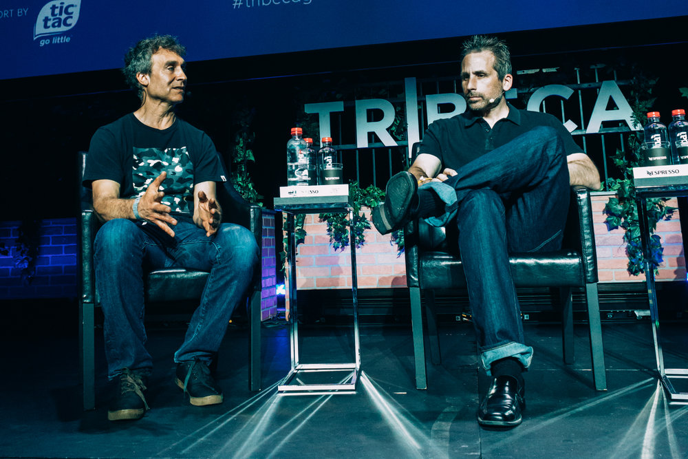 L-R: Film director Doug Liman (Edge of Tomorrow) and videogame designer Ken Levine (BioShock), reflect on Levine's legacy for interactive storytelling during their keynote conversation at the inaugural Tribeca Games Festival. Photo credit: @jive for @streetdreamsmag