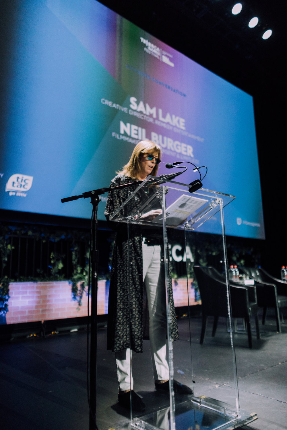 Tribeca Film Festival co-founder Jane Rosenthal delivers opening remarks introducing the keynote speakers at the inaugural Tribeca Games Festival. Photo credit: @jive for @streetdreamsmag
