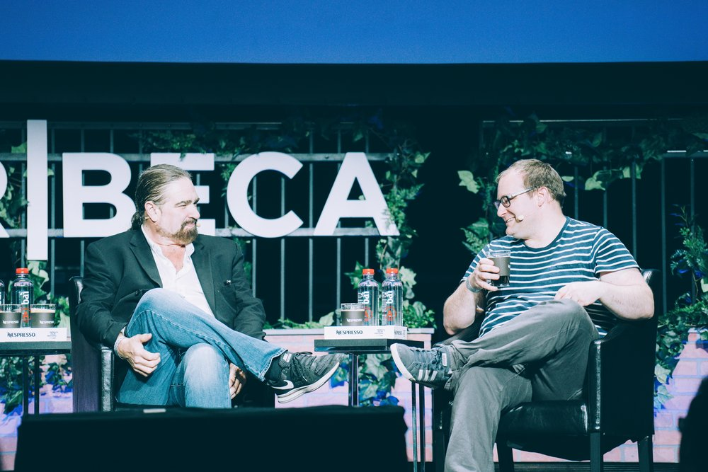 L-R: Film director Brett Leonard (The Lawnmower Man) and journalist Alex Goldman (Gimlet Media) discuss how The Lawnmower Man influenced a generation of digital creators on the film's 25th anniversary at the inaugural Tribeca Games Festival. Photo credit: @georgemckenziejr for @streetdreamsmag