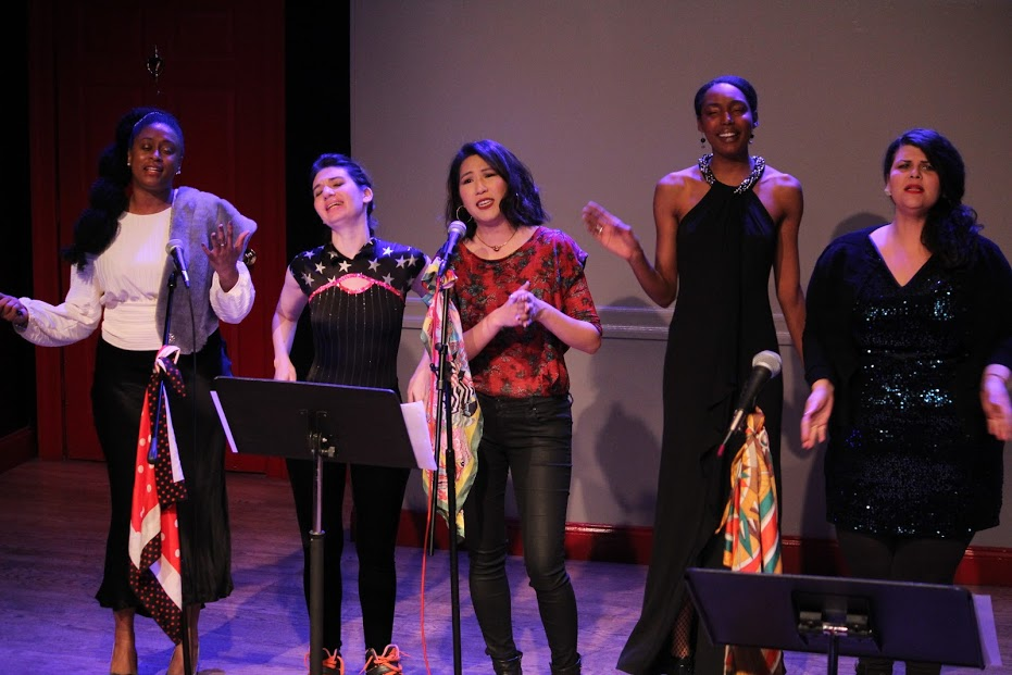 "Tahlia Robinson, Alyson Greenfield, Jen Kwok, Alexius Smith, and Kate Weber sing ""I Do Not Believe by Charlie Rose"""
