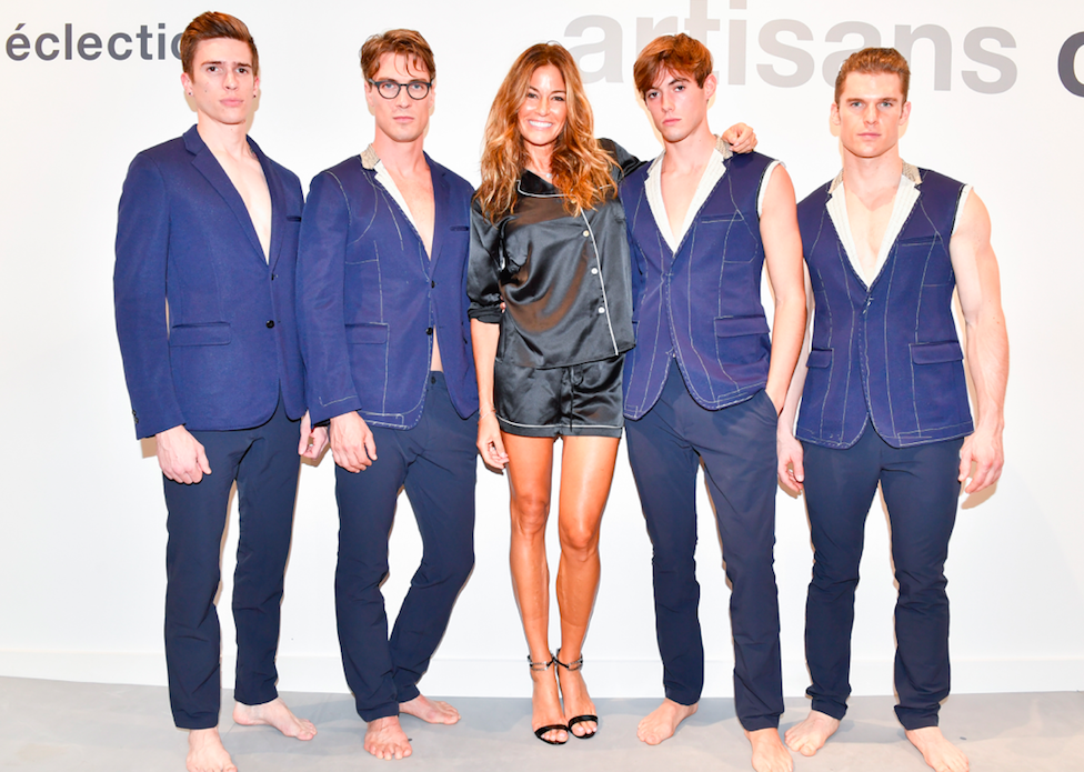 Kelly Killoren Bensimon with a team of male models at the Grand Opening of éclectic in New York City.