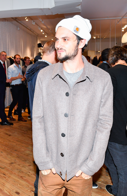Actor Shiloh Fernandez wearing an éclectic jacket at the Grand Opening of the label's first US location.