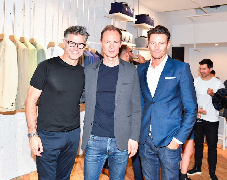 Eric Rutherford, Founder and Designer Frank Malegue and model Alex Lundqvist at the opening of éclectic in New York.