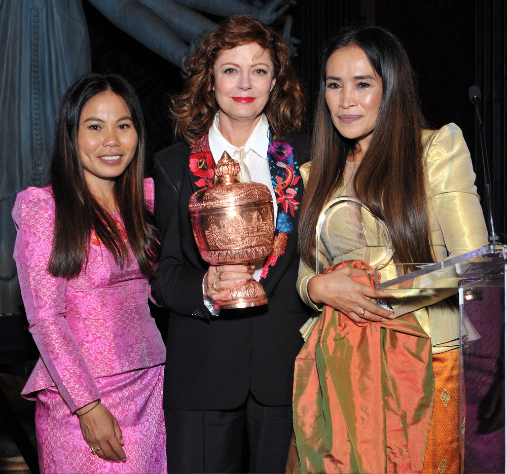 Sina Vann (L) and Somaly Mam (R) present the award to actress Susan Sarandon (C) at the Together1Heart Gala at TAO Downtown (Photo by Stephen Smith_Guest of a Guest) (1).jpg