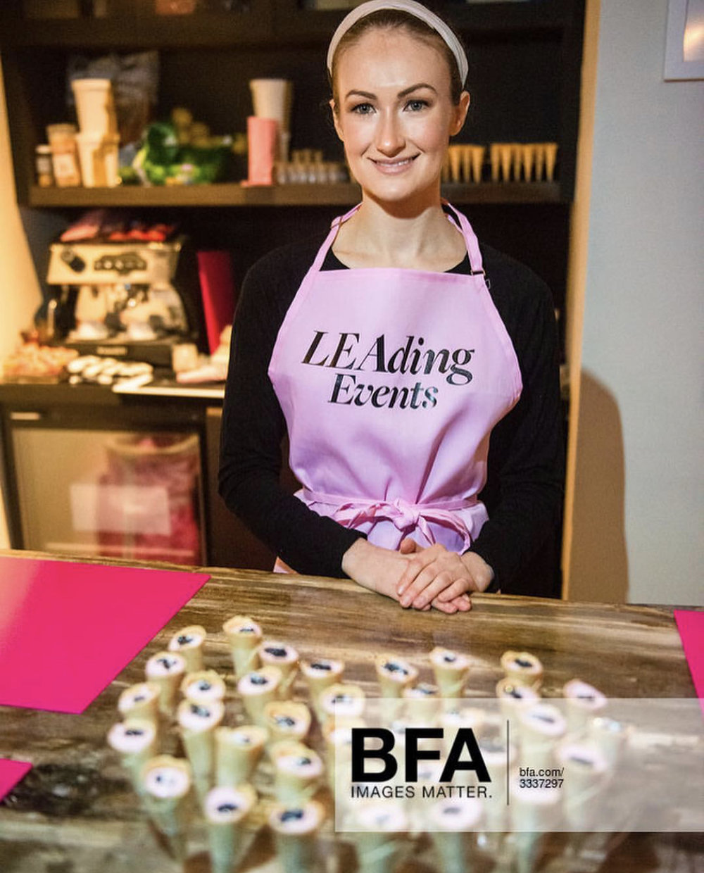 Chef Madison Papp Serving Pink Creme Fraiche Caviar Cones
