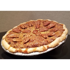 PECAN PIE   $30.00+    Packed with organic Georgian pecans blended with the perfect combination of eggs, syrup, and butter to produce a wonderful decadent richness of crunch and melting sweetness