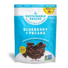 BLUEBERRY + PECANS: $7.99    Bites of pecans, blueberries and spices covered in maple syrup sweetened dark chocolate