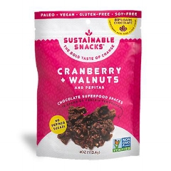 CRANBERRY + WALNUTS: $7.99    Bites of cranberries, walnuts, pepitas, spices and maple syrup sweetened dark chocolate