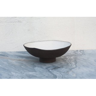 BLUE HILL FOOTED BOWL: FROM $55.00    Footed bowl designed for Blue Hill at Stone Barns. Glossy white glaze on dark brown stoneware. Unglazed exterior
