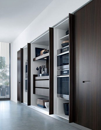 We Are Seeing Inventive Ways Of Hiding Work Spaces And Small Appliances  Using Vertical Folding Doors Such As In The Kitchen Above By Poliform  Varenna.