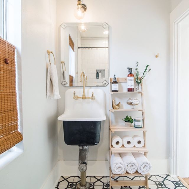 "Hand painted Moroccan cement tiles   100 years worth of linoleum layers. Swipe to see the ""before"" 🛀🏻🚽 👉🏼 813eProspect.com 📷: @pho_co"