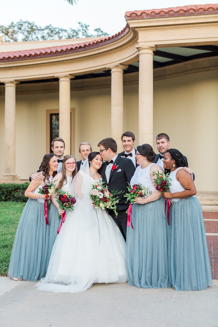 Elegant Dusty Blue with Red Museum of Fine Art Wedding in St. Petersburg, Florida.