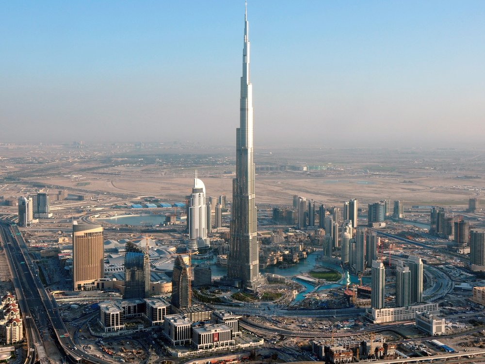 Dubai's Burj Khalifa is the tallest building in the world, standing at 2,716 ft.