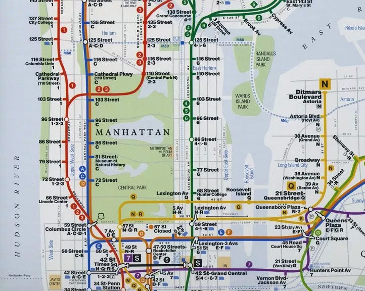 1998 map depicting the ghost tunnel via Quartz courtesy of the NYC Transit Museum