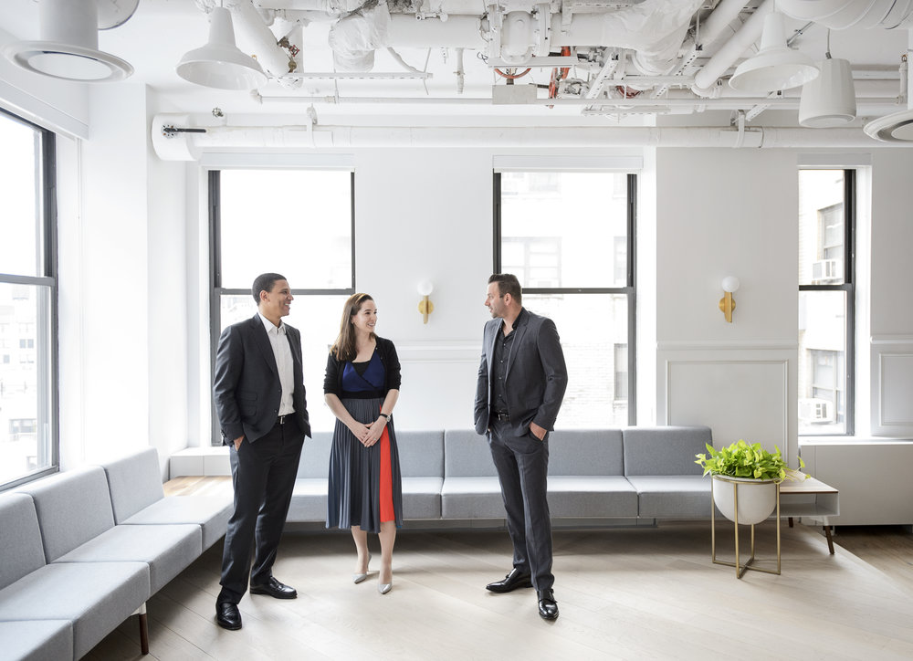Founder and executive chairman Ori AllonCompass, COO Maelle Gavet, and CEO Robert Reffkin.