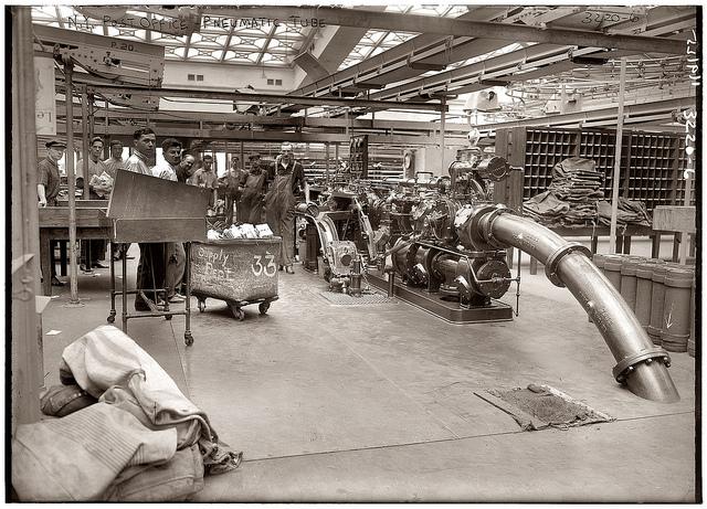 """N.Y. Post Office Pneumatic Tube"""" c. 1912."""