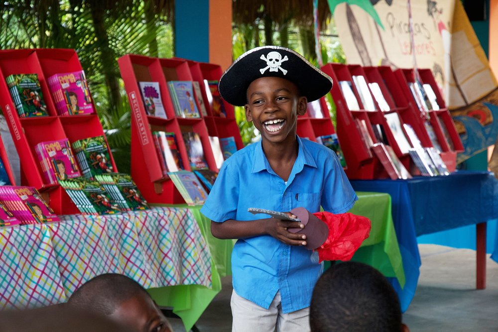 Aye Aye Captain! Student tries on a pirate hat.