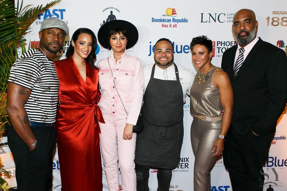(left to right)  Taye Diggs, Dascha Polanco, Jackie Cruz, Chef Kelvin, Kathy Romero, & Tony Peralta.