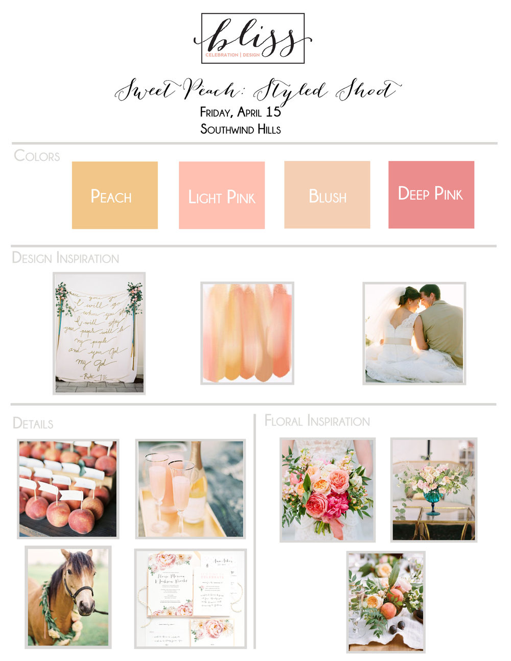 Sweet Peach Styled Shoot Inspiration Board | Bliss Celebration + Designs | Melanie Foster Photography