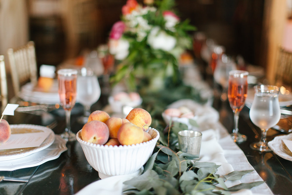 Bliss OKC | Melanie Foster | Sweet Peach Styled Shoot Head Table Bridal Party