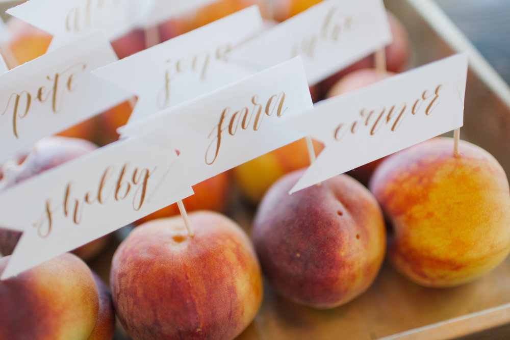 Bliss OKC | Melanie Foster | Sweet Peach Styled Shoot | Escort Cards | Calligraphy