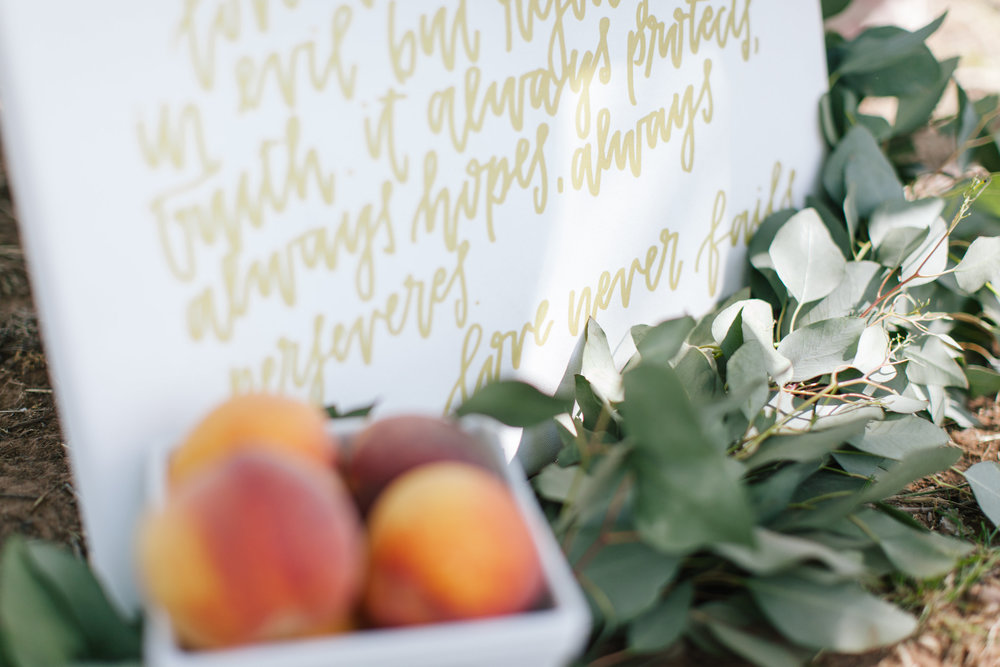 Bliss OKC | Melanie Foster | Sweet Peach Styled Shoot | Calligraphy