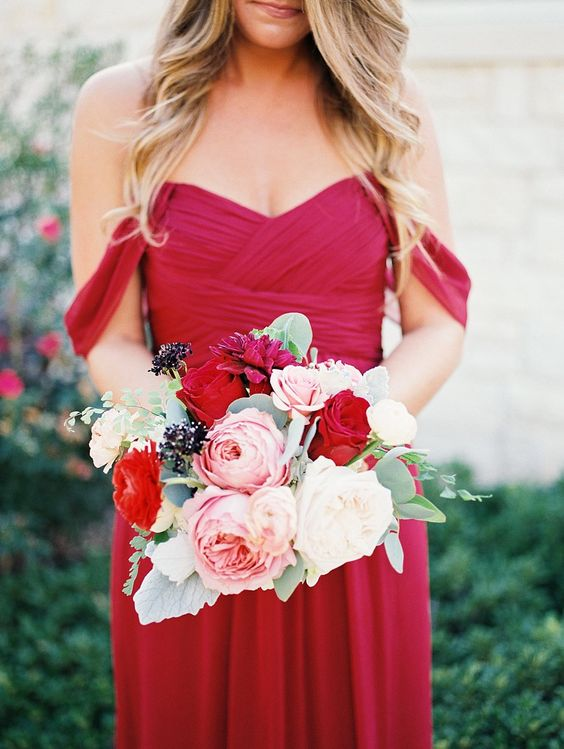 Red Bridesmaid Dress, English Garden Rose, Bridesmaid Bouquet