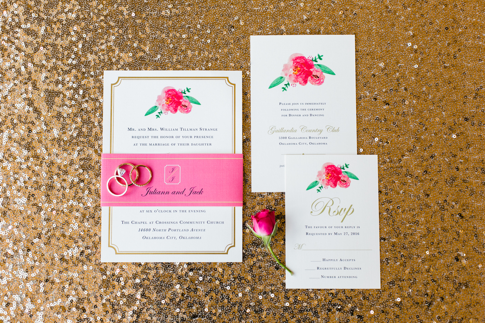 Bliss OKC | Aubrey Marie Photography | Invitation Suite | Touies Design | Pink and Gold Invitations