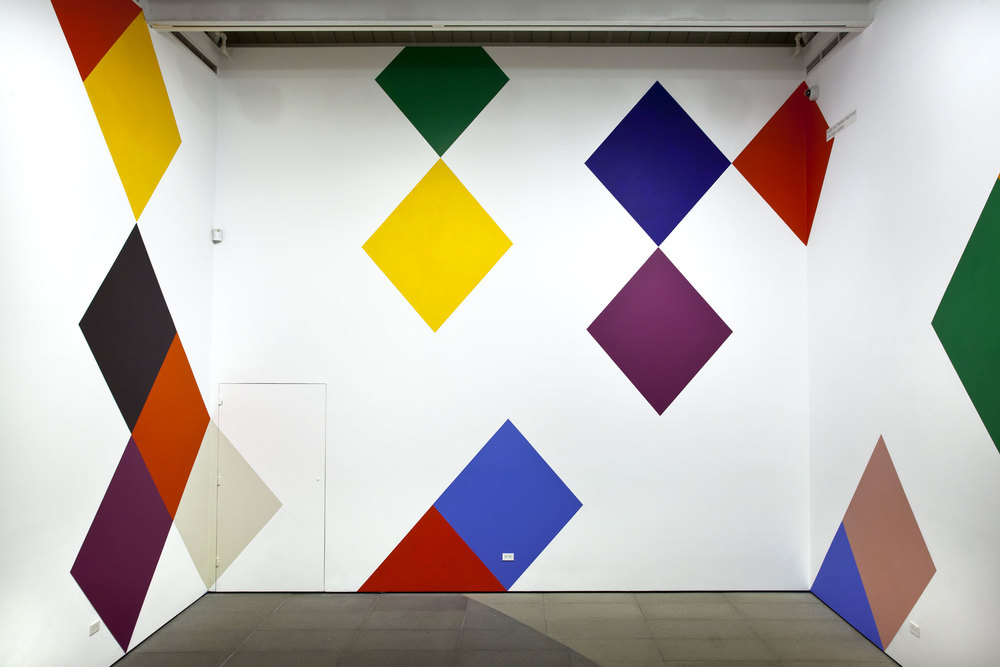 "Stars and Candywrappers , 2015, 18'6"" x 100', wall painting installed on all four walls of the Nachman Gallery, Museum of Art, Design and Architecture, University of California Santa Barbara. On view September 25, 2015-May 1, 2016."