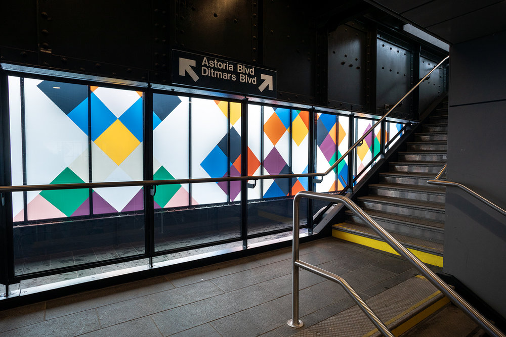 Perasma I , 2018, 8.5 x 66', laminated glass  Perasma II ,   2018, 8.5 x 66', laminated glass  Dappelganger ,   6.5 x 16', laminated glass Commissioned by the MTA Arts & Design.