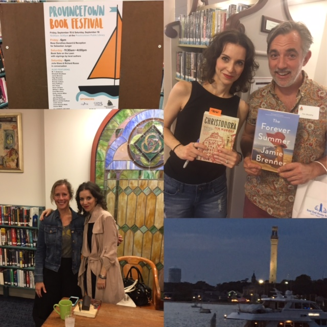 Clockwise from top: Book Festival poster, with author Tim Murphy, view of the Pilgrim Monument from ferry, and with Emily Jeanne Miller in the Provincetown Public Library.