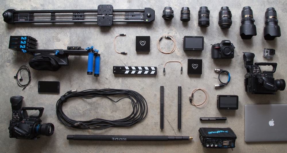 camera equipment for videoing.