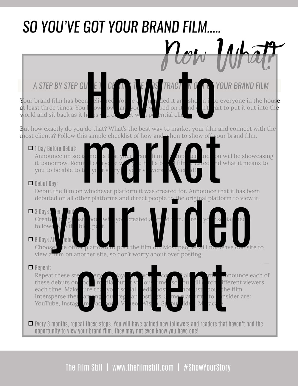 A checklist of how to market your video content.