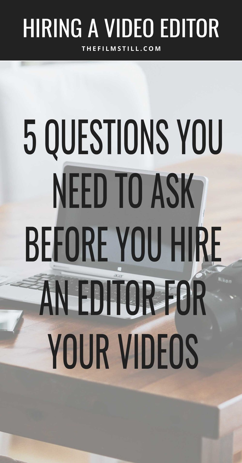 A photo of a computer and camera linking to an article explaining how to hire a video editor.