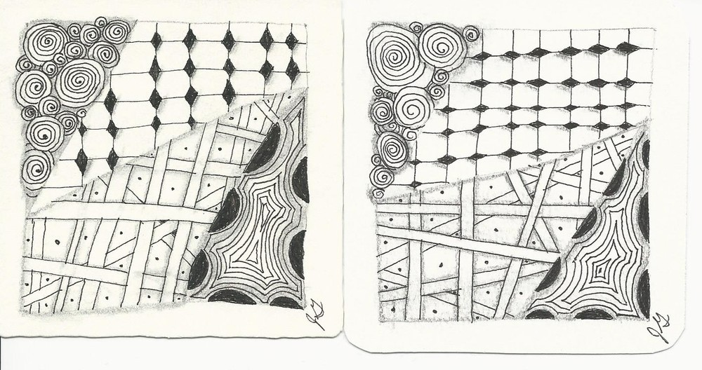 My first two Zentangle creations