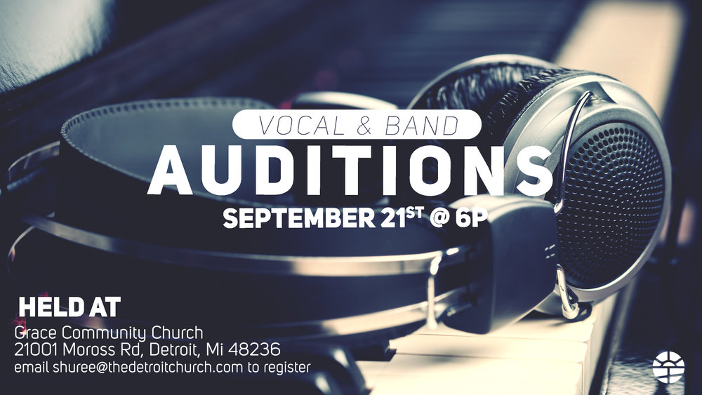 ATTENTION SINGERS & MUSICIANS!! Detroit Church is holding open auditions Sept 21, 2017! Be a part of a highly creative and diverse team of artists!  We believe in being a healthy team that puts God and others first in all we do. We love God. We Love People & We love our city! Interested in scheduling your audition?  Email shuree@thedetroitchurch.com