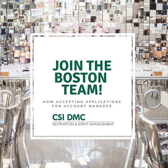 JOIN THE TEAM! 👋🏻 You've heard the news, and we are overwhelmed by the support you've shown with the new CSI Boston!  We have even MORE exciting news! WE ARE HIRING!  Are you a professional with great event experience, initiative, and a solutions oriented attitude? Then the Account Manager / Account Executive position is for you! It is a position for a highly-motivated individual with exceptional people skills and organized approach, who thrives on sourcing leads, converting leads to sales, meeting and exceeding sales goals, presenting to clients, developing, growing and maintaining hotel and client relationships and increasing revenues! You'll be a part of a team that is represented around the world!  Apply Today on @ CSI DMC on LinkedIn  #HireMe #BostonJobPosting #bostonjobs #eventplanner #eventmanager #dmc #hospitality