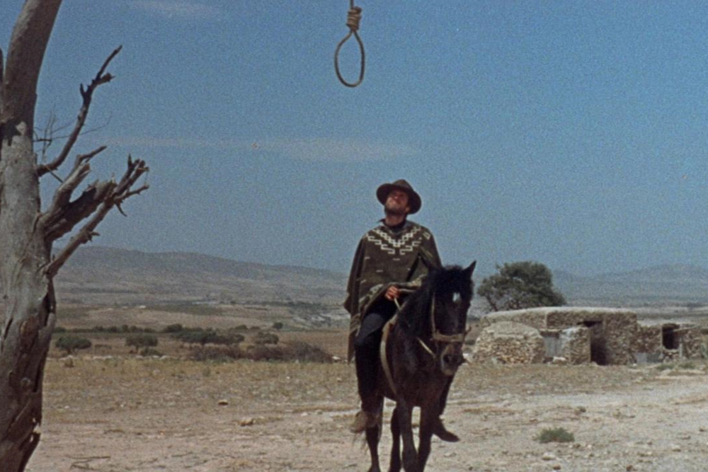 The Man with No Name considers his options in  A Fistful of Dollars