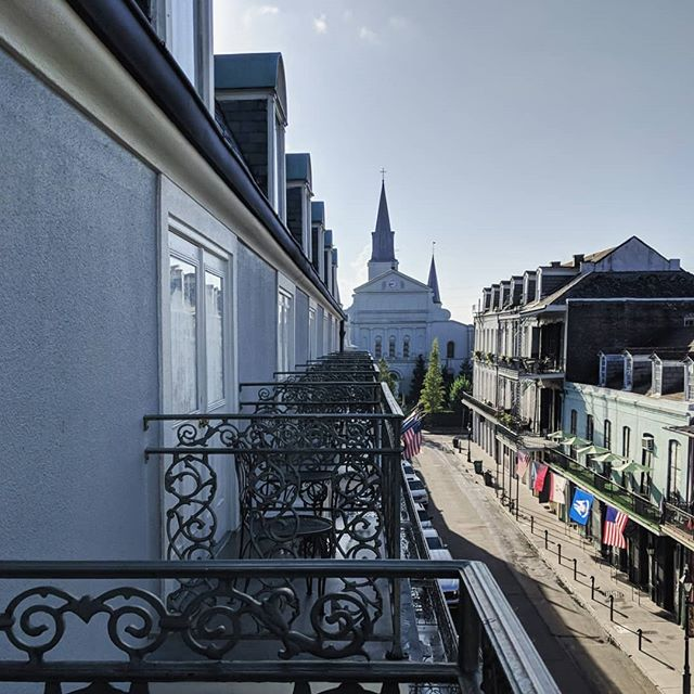 Beautiful morning in #neworleans ... can't beat the balcony view, falling asleep to music & parades on the streets, and waking up to street cleaners and a quieter bustle as the city resets itself for another day. Breakfast with a not-quite-a-milkshake and my best friend.  #vacation #roadtrip #nola #breakfast #whiskey #milkshake #foodporn #yummy #love